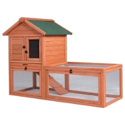 Outdoor Wooden Rabbit Bunny Chicken Coops Cages with Tray