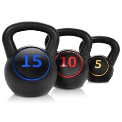 3 Pcs 5 10 15lbs Kettlebell Kettle Bell Weight Set