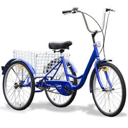Blue Single Speed Tricycle with Adjustable Seat