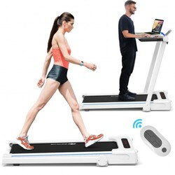 Category: Dropship Exercise & Fitness, SKU #SP37179WH, Title: 2.25HP 3-in-1 Folding Treadmill with Table Speaker Remote Control-White - Color: White
