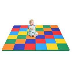 58'' Toddler Foam Play Mat Baby Folding Activity Floor Mat for Home and Daycare School-Multicolor - Color: Multicolor