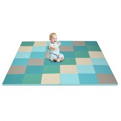 58'' Toddler Foam Play Mat Baby Folding Activity Floor Mat for Home and Daycare School-Light Blue - Color: Light Blue
