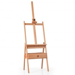 Adjustable  Floor Wooden Artist Easel H-Frame with Art Supply Storage Drawer