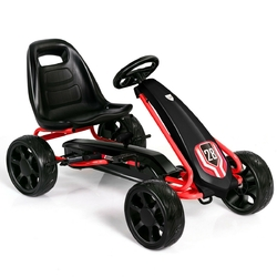 Kids Ride On Toys Pedal Powered Go Kart Pedal Car-Black - Color: Black