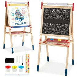 All-in-One Wooden Height Adjustable Kid's Art Easel - Color: Multicolor