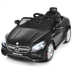 12 V Mercedes-Benz S63 Licensed Kids Ride On Car-Black - Color: Black
