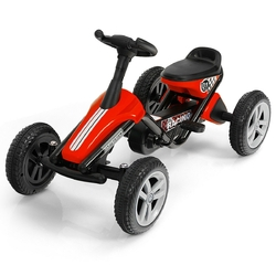 4 Wheel Pedal Powered Ride on Racer Car for Kids-Red - Color: Red