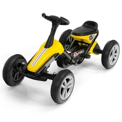 4 Wheel Pedal Powered Ride on Racer Car for Kids-Yellow - Color: Yellow