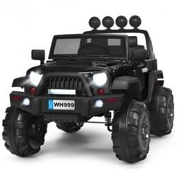 12V Kids Spring Suspension Ride On Truck-Black - Color: Black