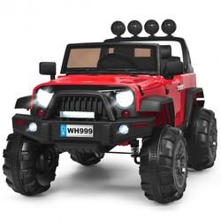 12V Kids Spring Suspension Ride On Truck-Red - Color: Red