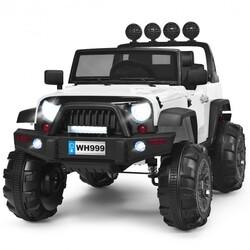 12V Kids Spring Suspension Ride On Truck-White - Color: White