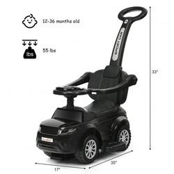 Honey Joy 3 in 1 Ride on Push Car Toddler Stroller Sliding Car with Music-Black - Color: Black