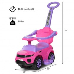 Honey Joy 3 in 1 Ride on Push Car Toddler Stroller Sliding Car with Music-Pink - Color: Pink