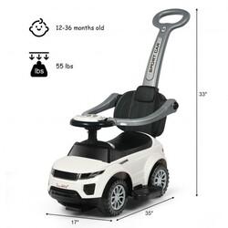 Honey Joy 3 in 1 Ride on Push Car Toddler Stroller Sliding Car with Music-White - Color: White