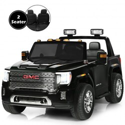 12V 2-Seater Licensed GMC Kids Ride On Truck RC Electric Car with Storage Box-Black - Color: Black
