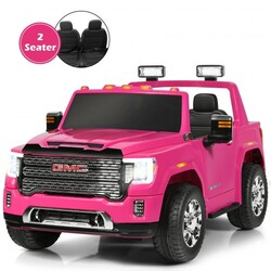 12V 2-Seater Licensed GMC Kids Ride On Truck RC Electric Car with Storage Box-Pink - Color: Pink
