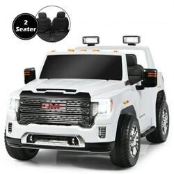 12V 2-Seater Licensed GMC Kids Ride On Truck RC Electric Car with Storage Box-White - Color: White