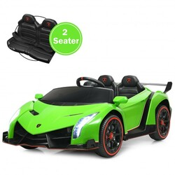 12V 2-Seater Licensed Lamborghini Kids Ride On Car with RC and Swing Function-Green - Color: Green