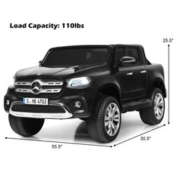 12V 2-Seater Kids Ride On Car Licensed Mercedes Benz X Class RC with Trunk-Black - Color: Black