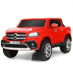 12V 2-Seater Kids Ride On Car Licensed Mercedes Benz X Class RC with Trunk-Red - Color: Red