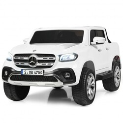 12V 2-Seater Kids Ride On Car Licensed Mercedes Benz X Class RC with Trunk-White - Color: White