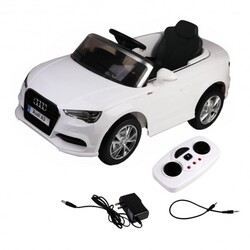 12 V Audi A3 Kids Ride on Car with RC + LED Light + Music-White - Color: White
