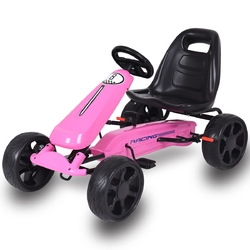 Outdoor Kids 4 Wheel Pedal Powered Riding Kart Car-Pink - Color: Pink