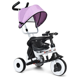4-in-1 Kids Baby Stroller Tricycle Detachable Learning Toy Bike-Pink