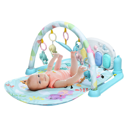 3 in 1 Fitness Music and Lights Baby Gym Play Mat-Blue - Color: Blue