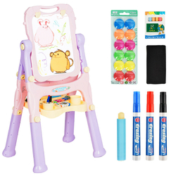 Kids Height Adjustable Double Side Magnetic Art Easel-Purple - Color: Purple
