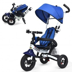 6-In-1 Kids Baby Stroller Tricycle Detachable Learning Toy Bike-Blue - Color: Blue