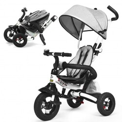 6-In-1 Kids Baby Stroller Tricycle Detachable Learning Toy Bike-Gray - Color: Gray