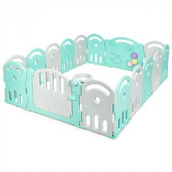 16-Panel Baby Playpen with Music Box & Basketball Hoop-Gray - Color: Gray