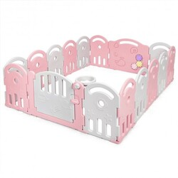 16-Panel Baby Playpen with Music Box & Basketball Hoop-Pink - Color: Pink