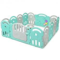 14-Panel Baby Playpen with Music Box & Basketball Hoop-Light Green