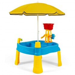 Kids Sand and Water Table  for Toddlers with Umbrella & 18 Pcs Accessory Set