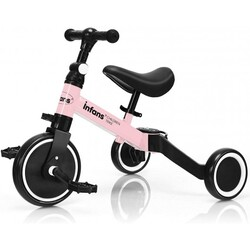 3 in 1 3 Wheel Kids Tricycles with Adjustable Seat and Handlebarfor Ages 1-3-Pink - Color: Pink
