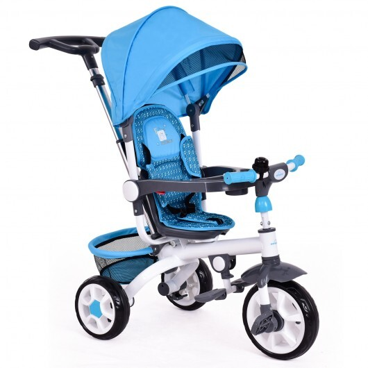 4-in-1 Detachable Baby Stroller Tricycle with Round Canopy -Blue