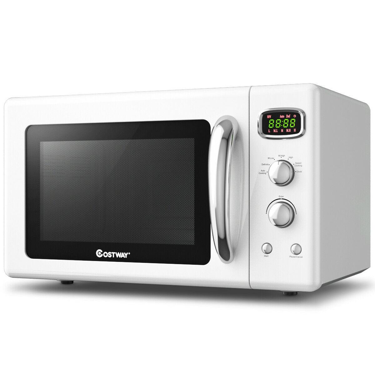 0.9 Cu.ft Retro Countertop Compact Microwave Oven-White