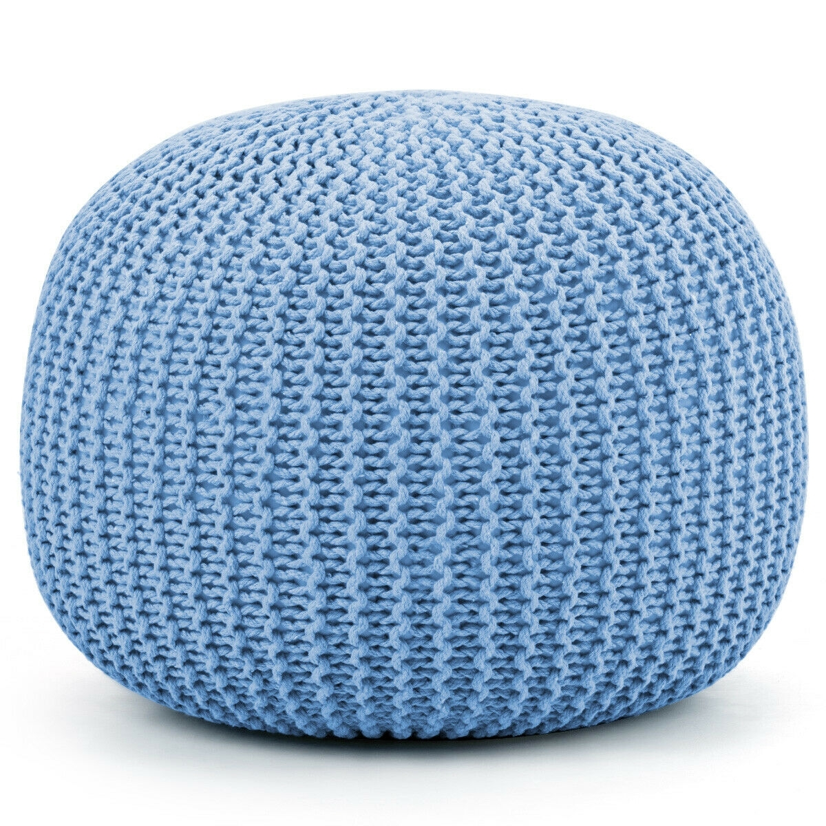 100% Cotton Hand Knitted Pouf Floor Seating Ottoman-Blue
