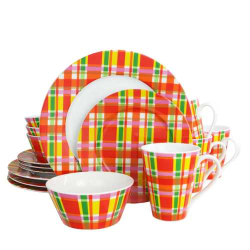 Oui by French Bull Multi Plaid 16 Piece Porcelain Dinnerware Set
