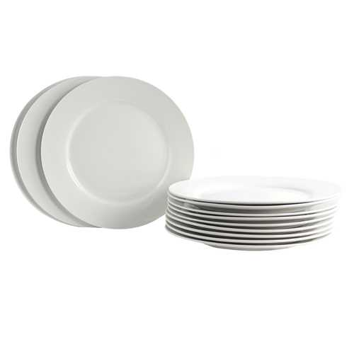 Gibson Home Noble Court 12 Piece Dinner Plate Set in White