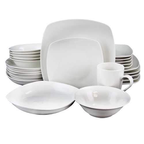 Gibson Home Hagen Square Dinnerware Set in White, Set of 30