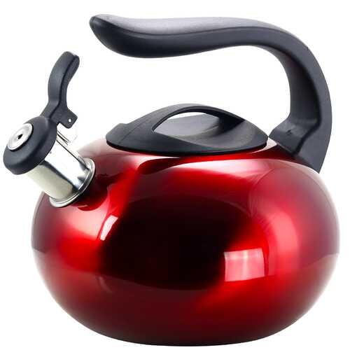Mr Coffee Langham 2.1 Quart. Stainless Steel Whistling Tea Kettle in Red