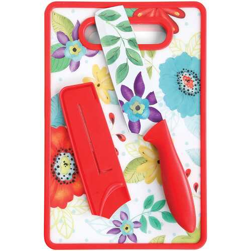 Studio California Jordana Nakiri 3 Piece Cutlery Knife and Cutting Board Set in Red Floral Pattern