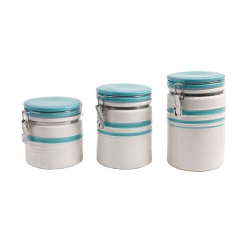 Gibson General Store Hollydale 3 Piece Canister Set in White and Teal Band
