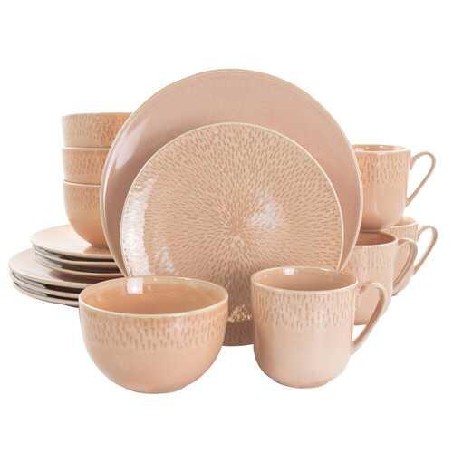Laurie Gates Matisse 16 Piece Round Stoneware Dinnerware Set in Pink
