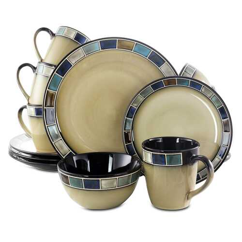 Gibson Elite Casa Azul 16 Piece Stoneware Dinnerware Set in Cream and Blue