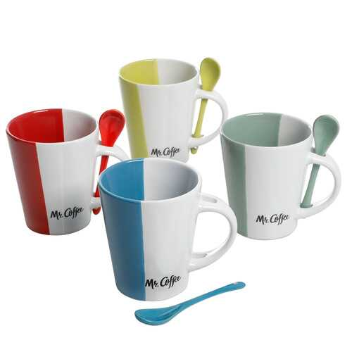 Mr. Coffee Café Roma 8 Piece 14 oz. Mugs with Matching Spoons Set in 4 Assorted Colors