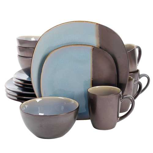 Gibson Volterra 16 Piece Soft Square Stoneware Dinnerware Set in Teal